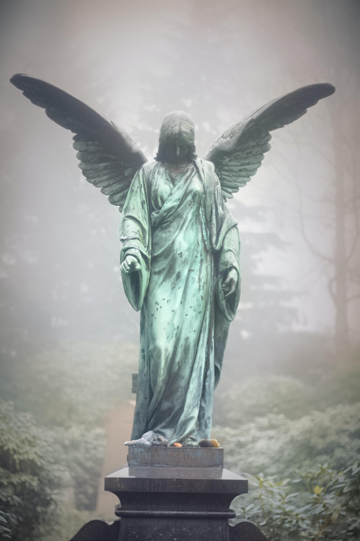 angel, woman, beautiful, nice, lovely, Pretty, breasts, Cemetery, graveyard, mist, fog, gray, grey, Hamburg, Ohlsdorf, green, Body, wings, autumn, Cold, garten, trees, head, dress, gown, death, tomb, grave, Stone