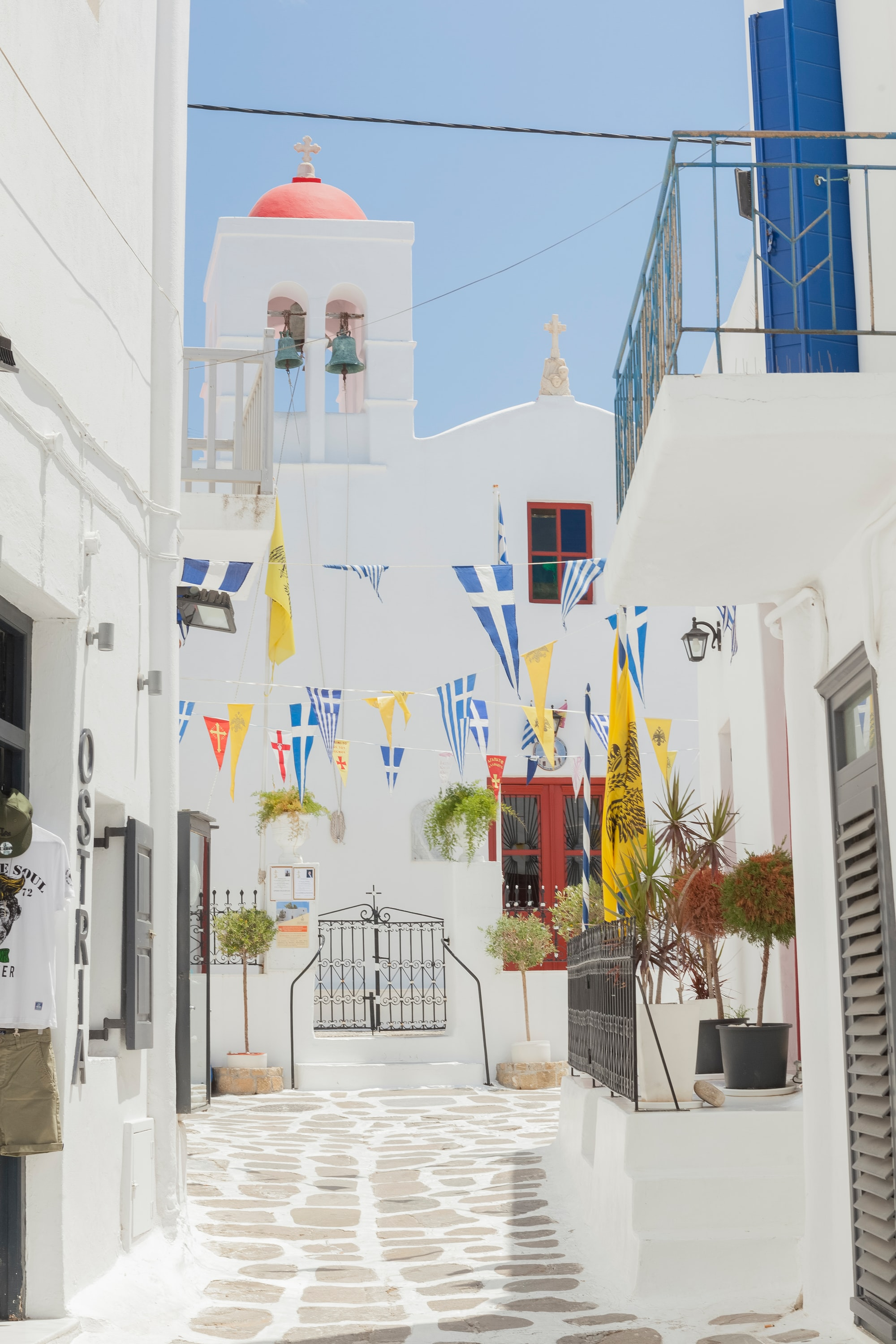 Flags in front of chapel, Mykonos