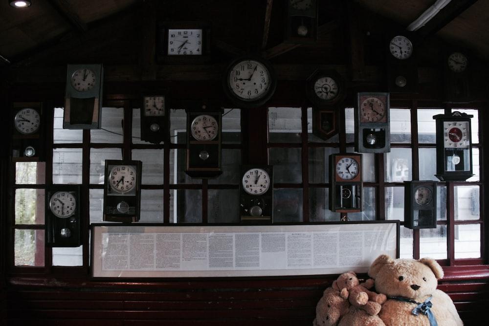 brown bear plush toy lying near wall with clocks