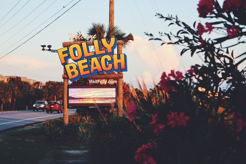 Folly Beach signage beside road