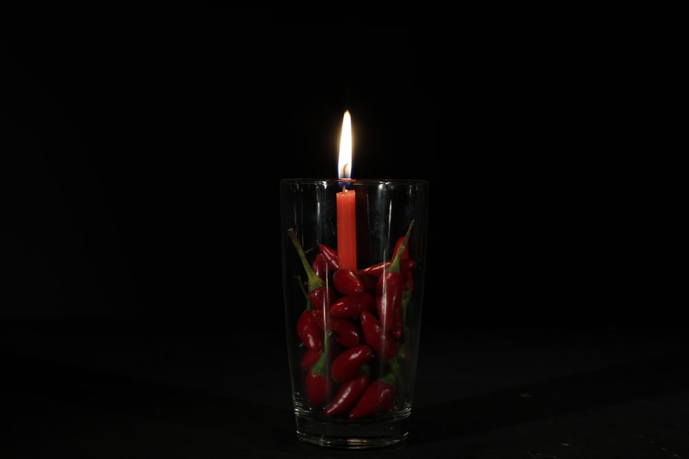 lit red candle