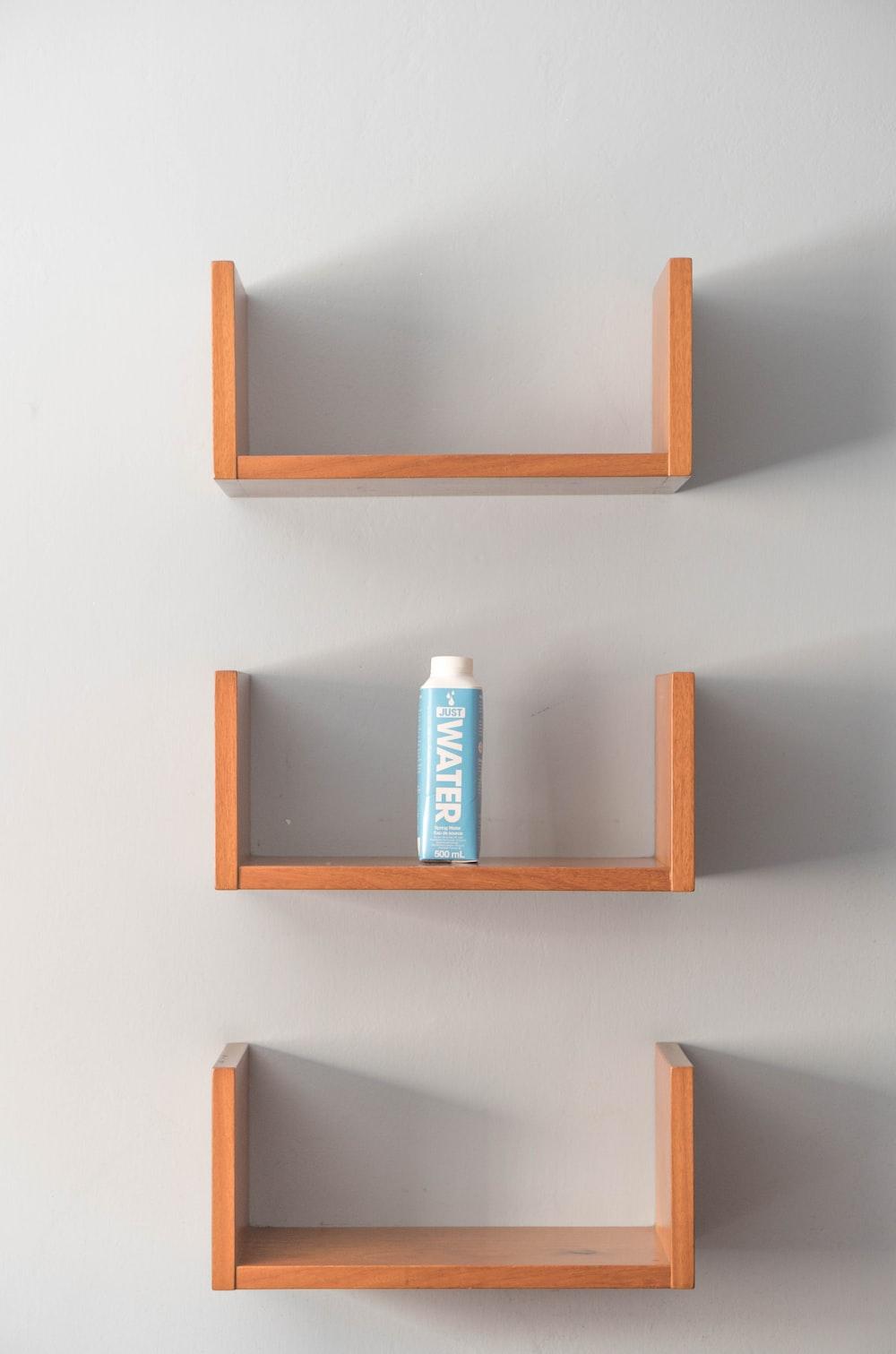 water bottle on shelf