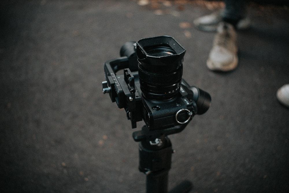 black DLSR camera