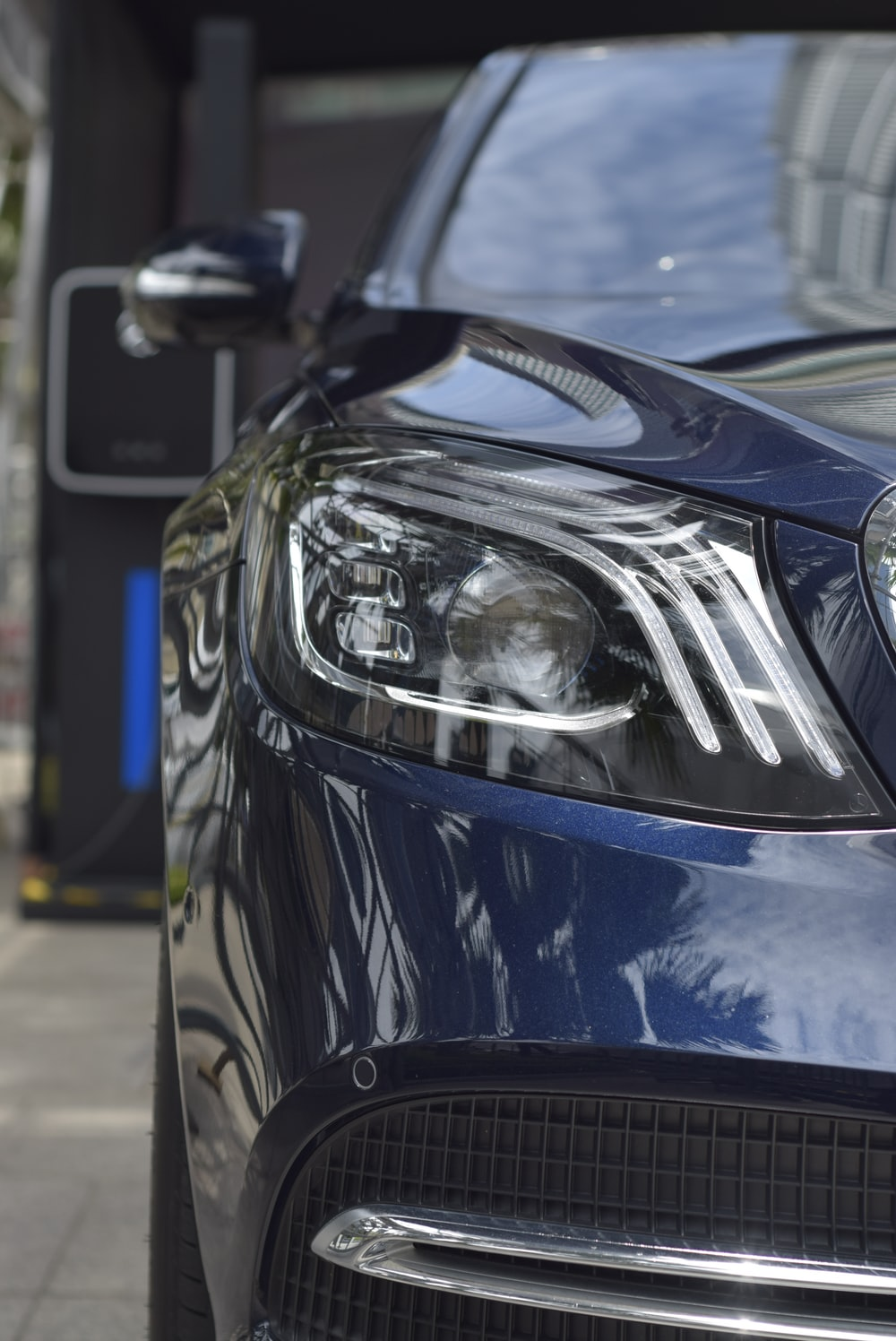 headlight on a blue car