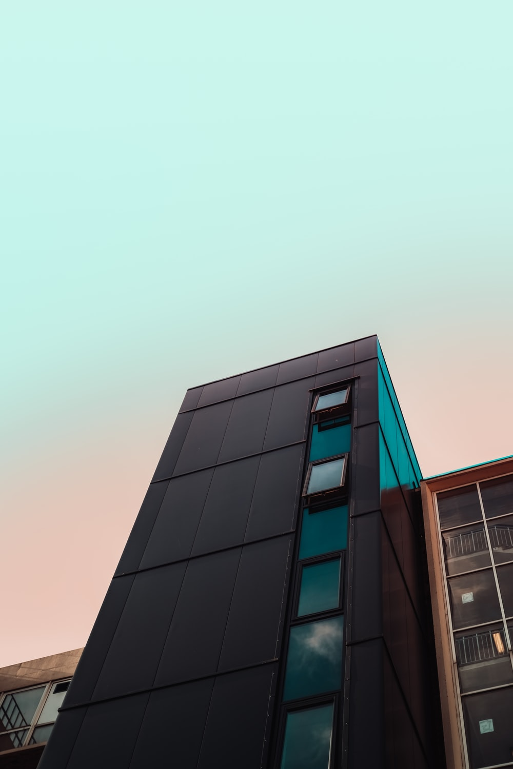 gray and black cement building