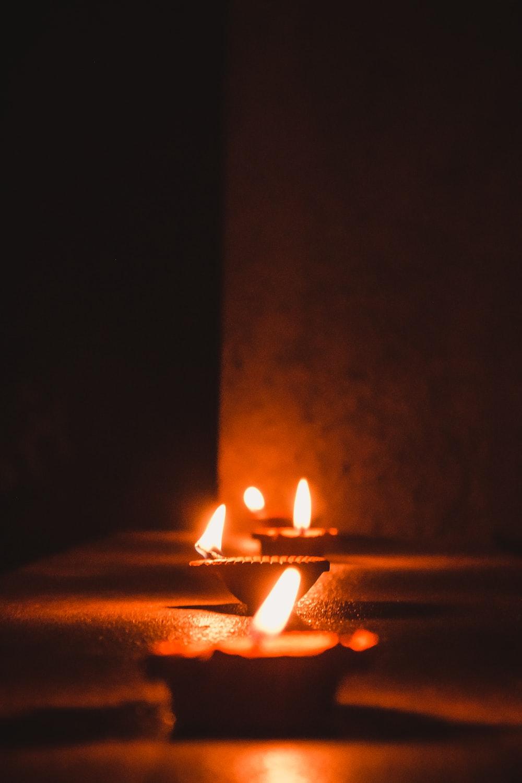 lighted Diya lamps