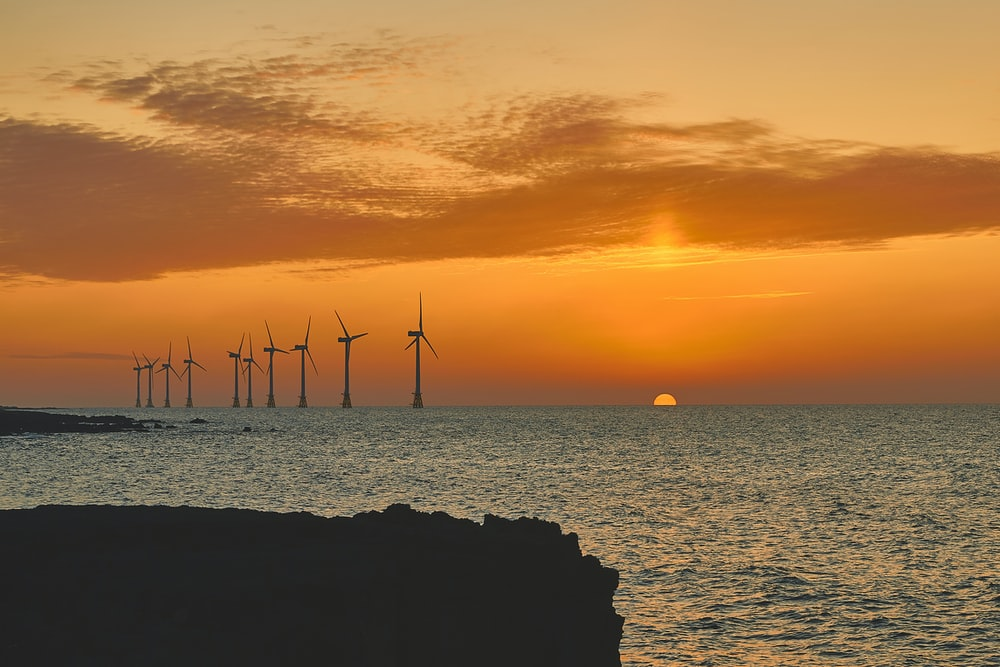 silhouette of wind turbines during golden hour