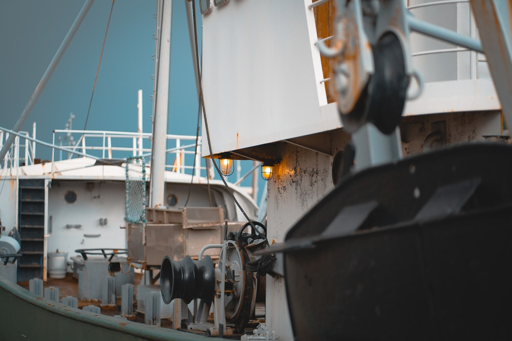 white metal ship