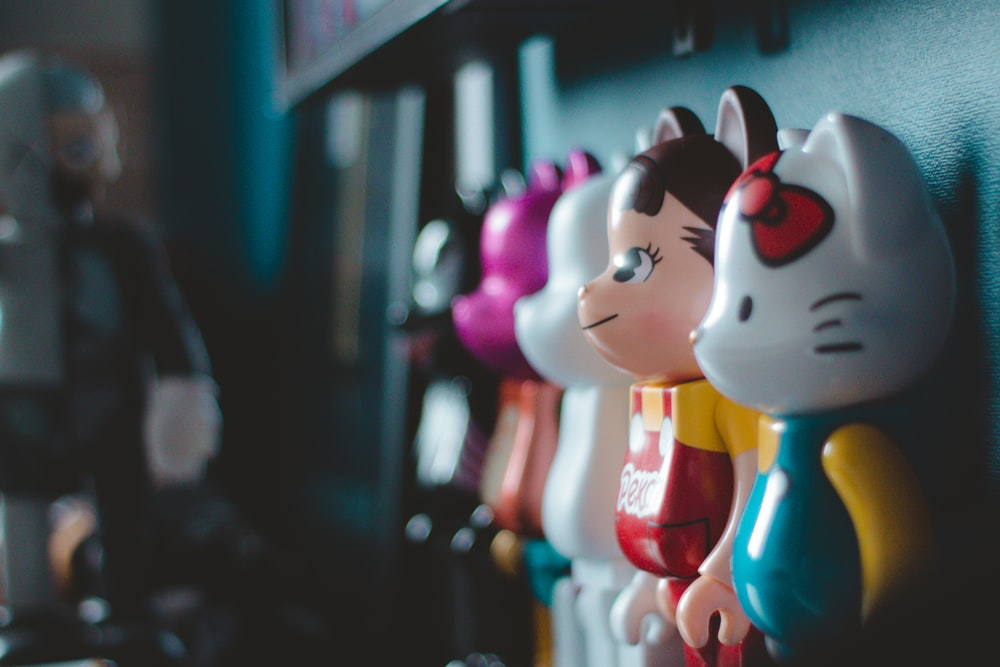 assorted-color character figure collection