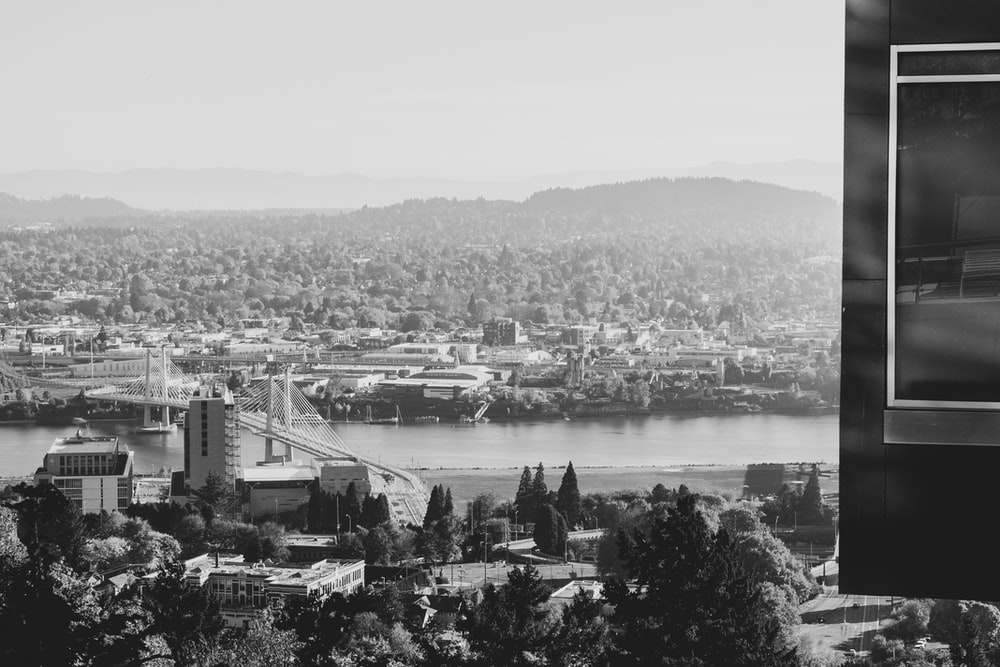 grayscale photography of city near body of water