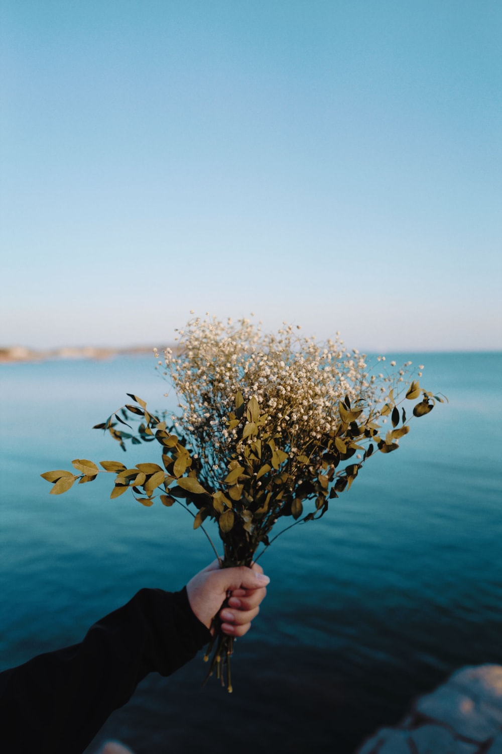 person holding white flower bouquet during daytime
