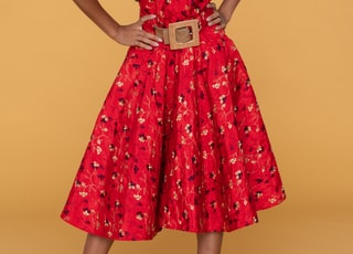 women's red, black, and white floral dress