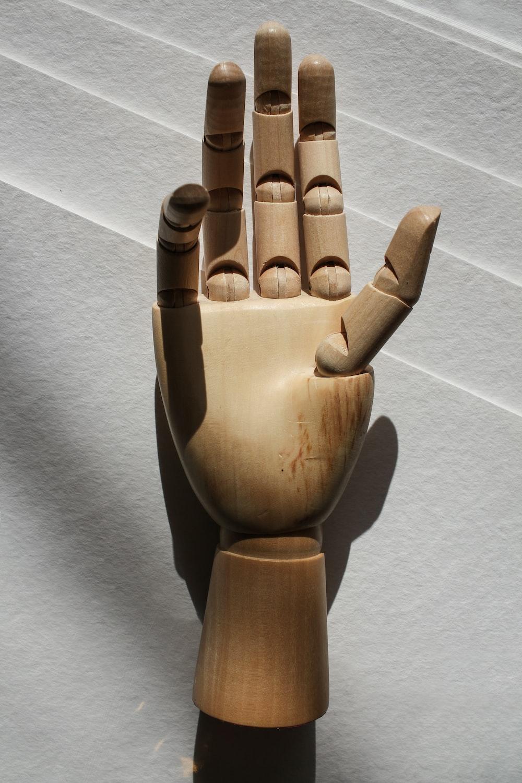 brown hand table decor