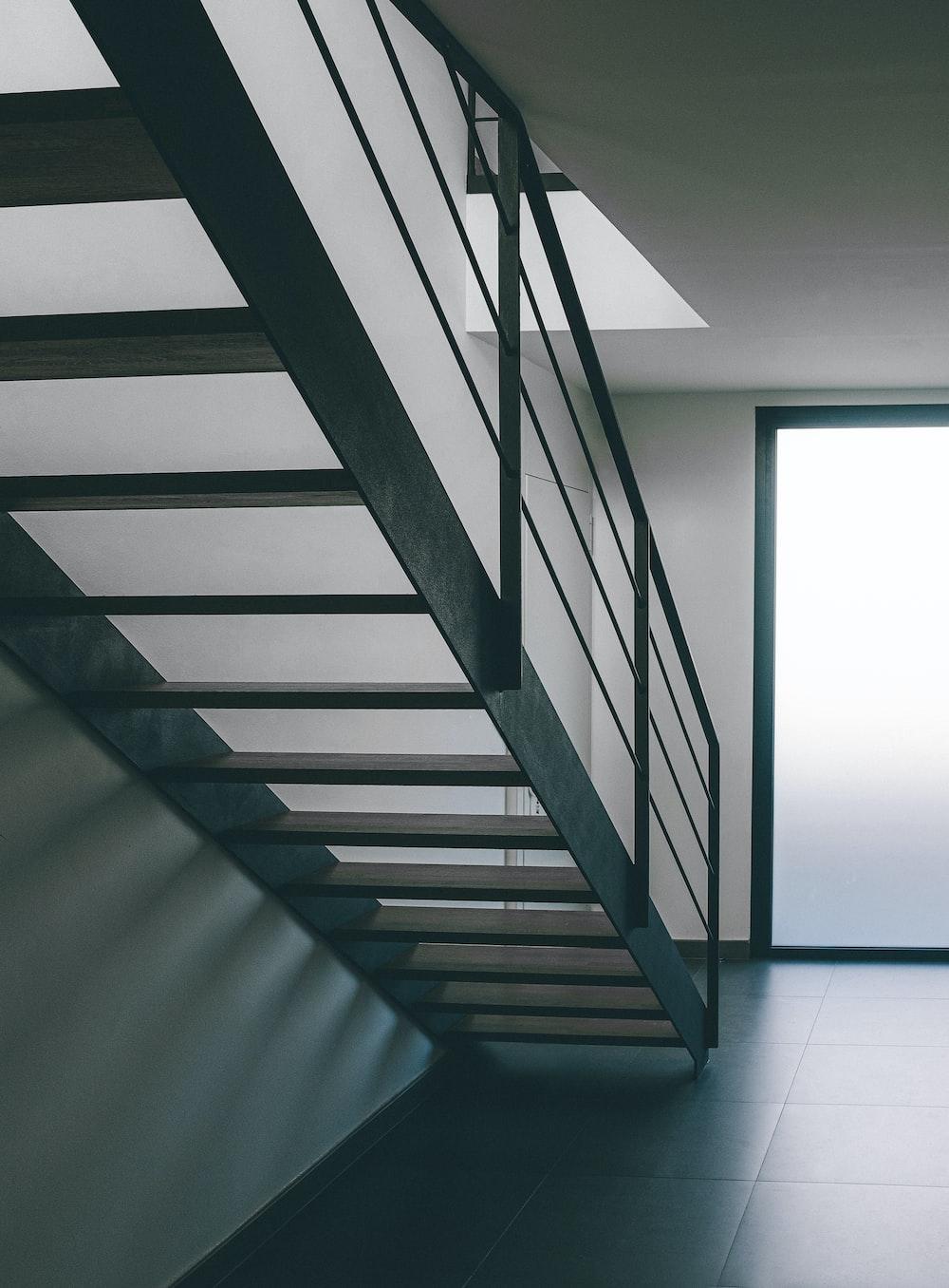 grey metal staircase inside room