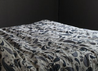 white and blue paisley bedsheet