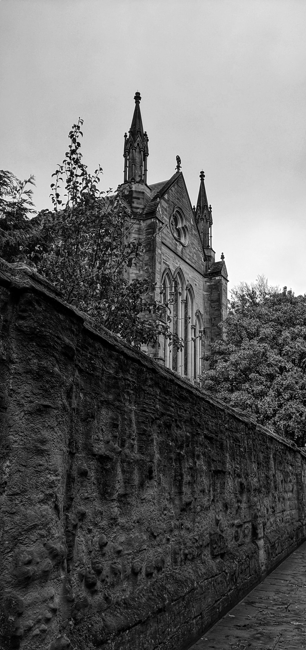 grayscale photography of a cathedral building