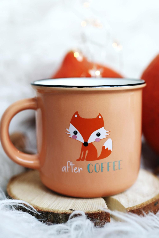 pink and orange fox printed mug