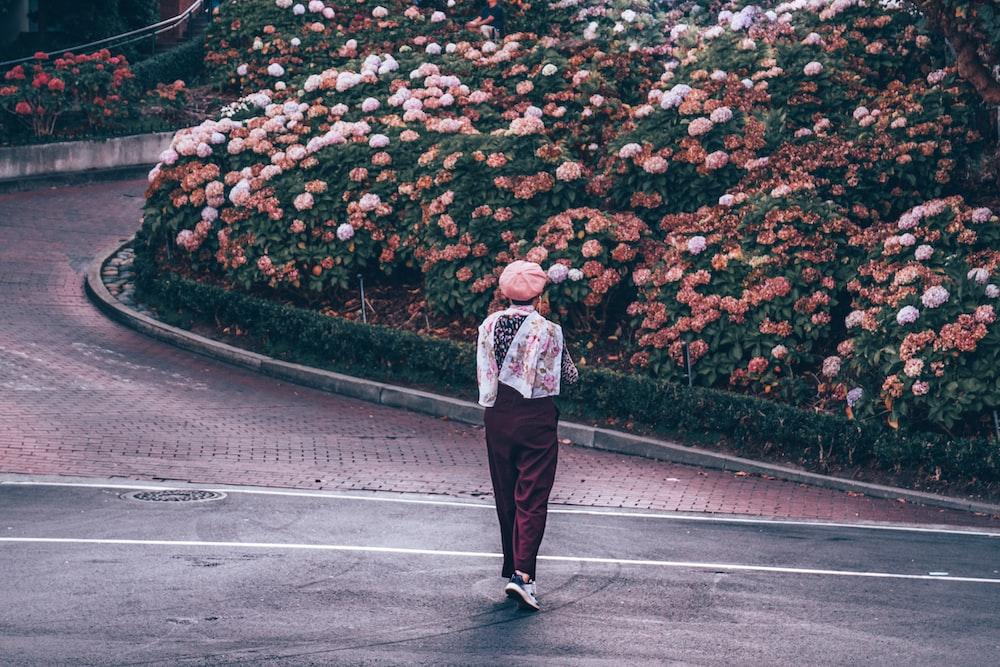 person walking on road near flower garden during daytime