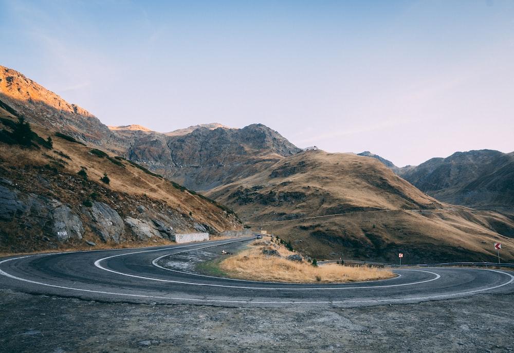 gray U-turn road