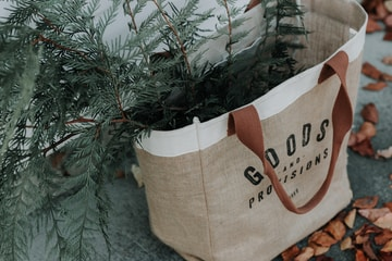 brown Goods tote bag with green plant