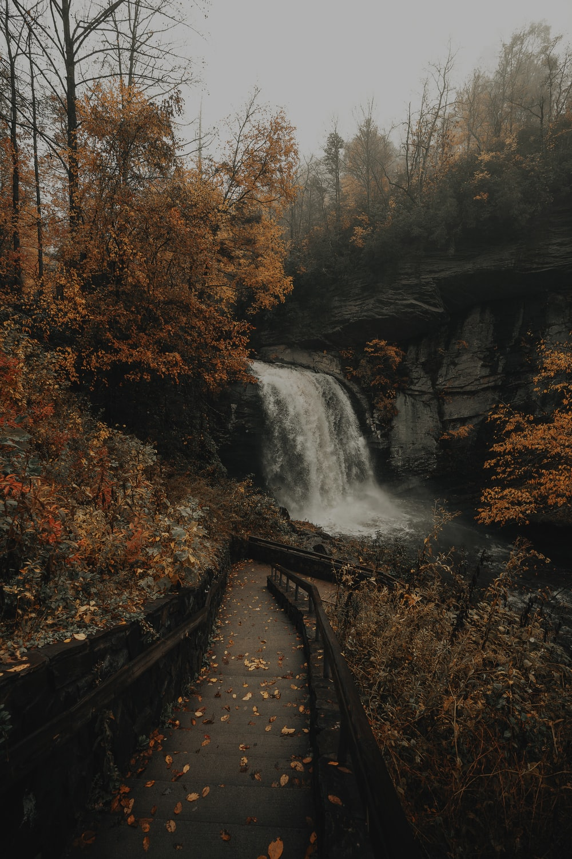 waterfalls under gray sky