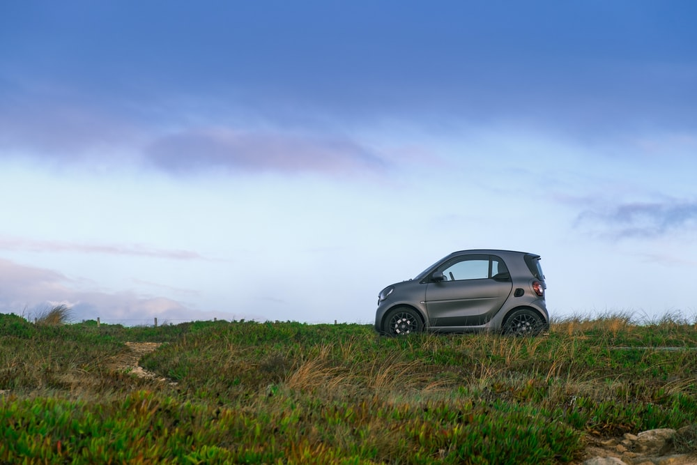 gray smart car on grass field
