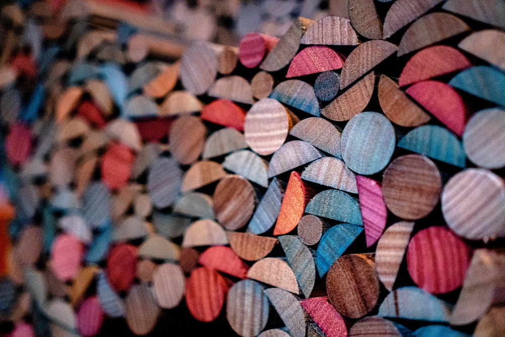 assorted-color wooden decors