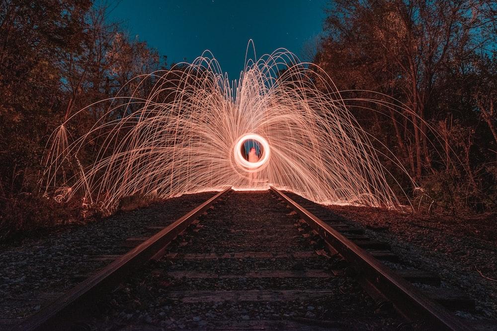 fireworks on a train railway
