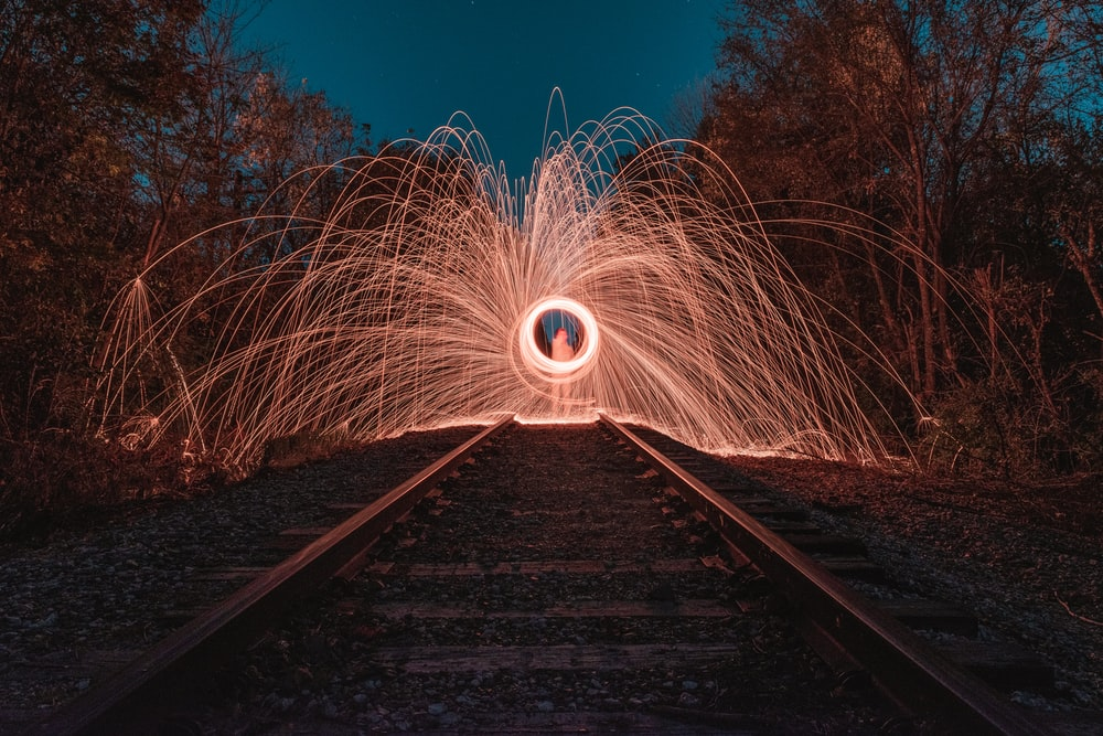 fireworks on a train railway