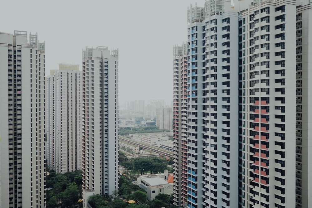 white cement high-rise buildings