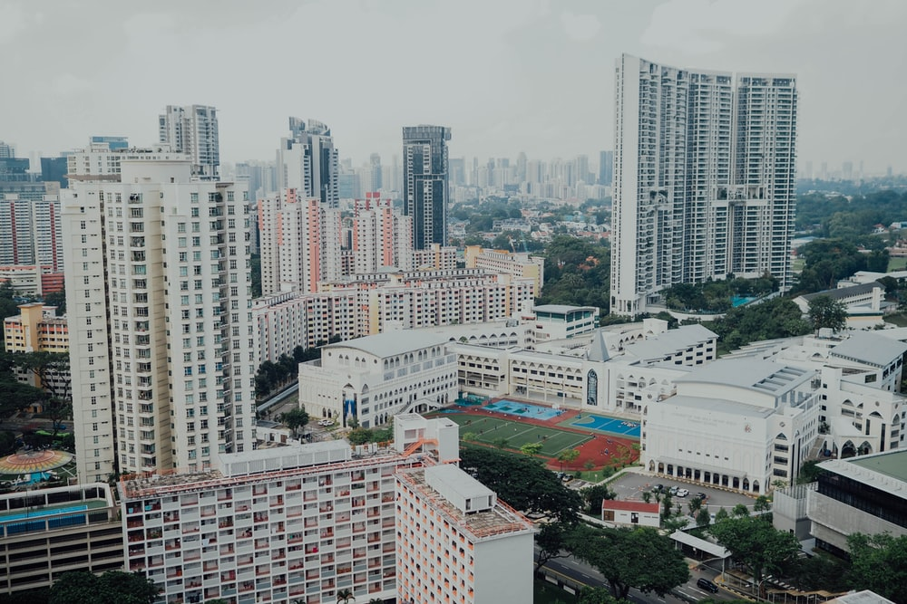 high-angle photography of high-rise buildings