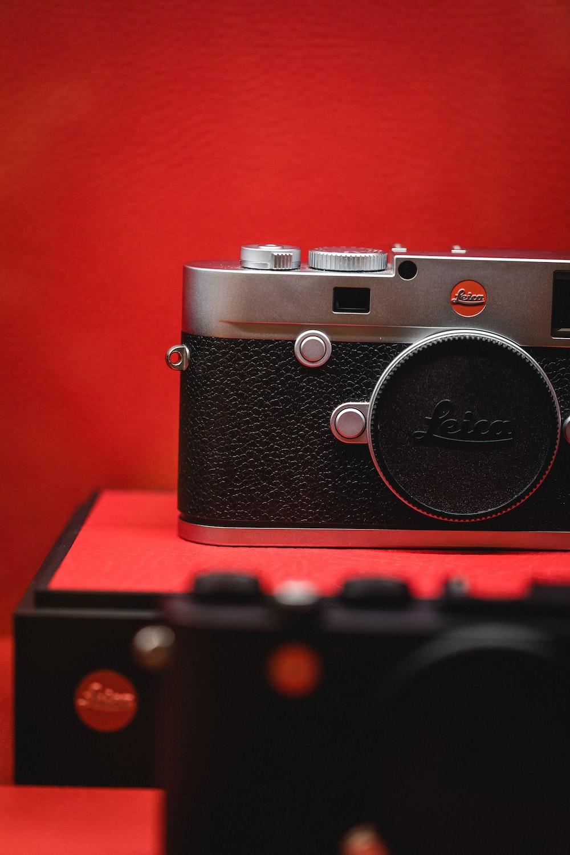 black and gray Leica SLR camera
