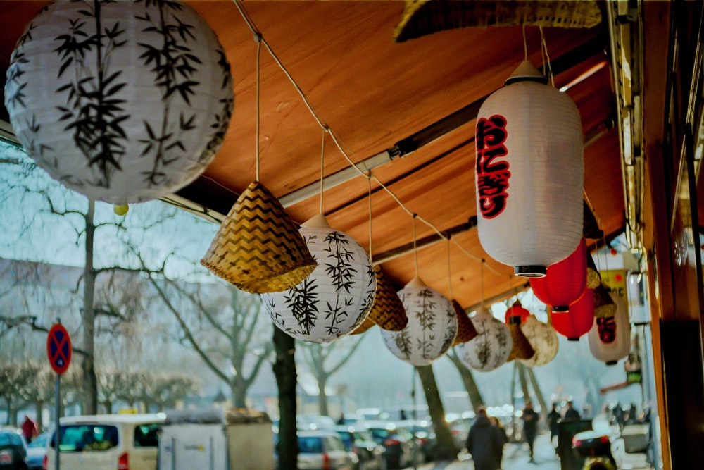 assorted-color hanging lanterns