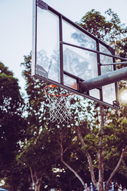 gray metal basketball hoop