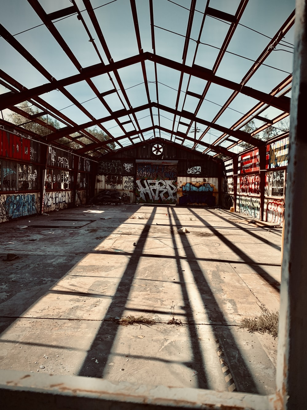 building interior surrounded by graffiti