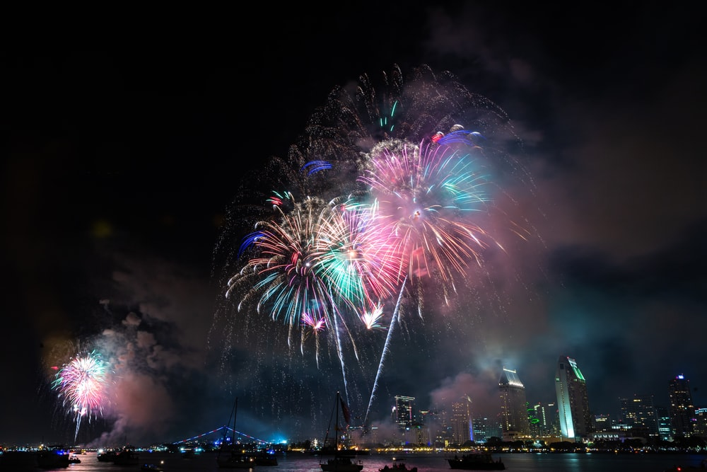 low-angle photography of fireworks display