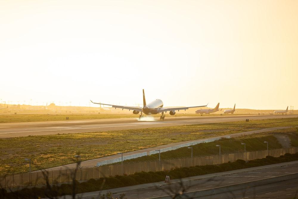 gray airplane at runway