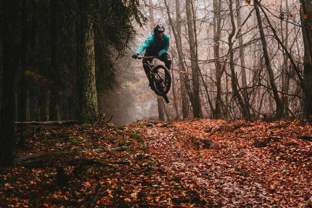 man riding bike over dried leaves on ground