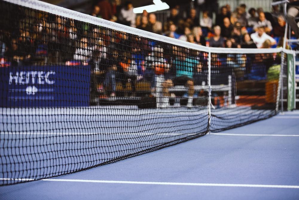 black and white tennis net