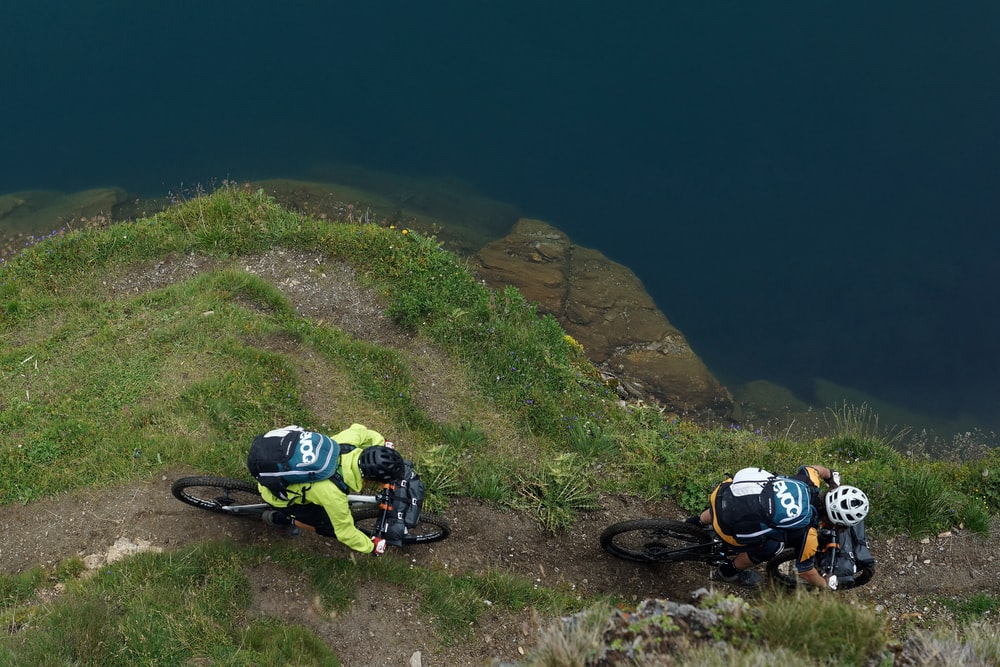 two person riding on mountain bike