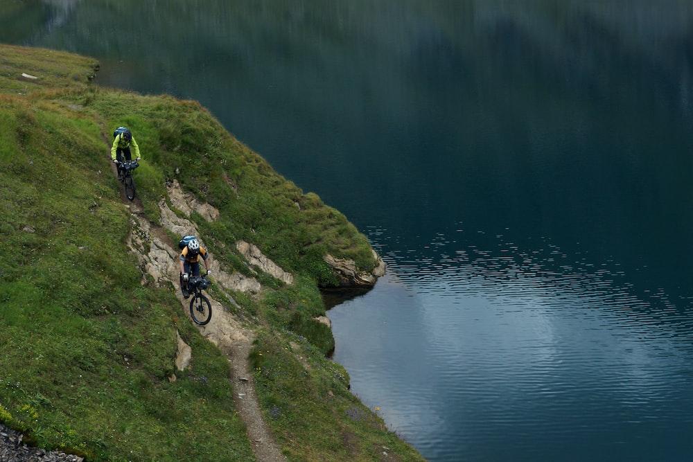 two person riding mountain bike
