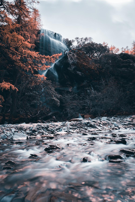 waterfall and lake scenery