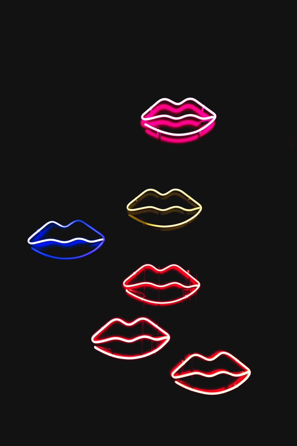 six assorted-colored lips illustrations