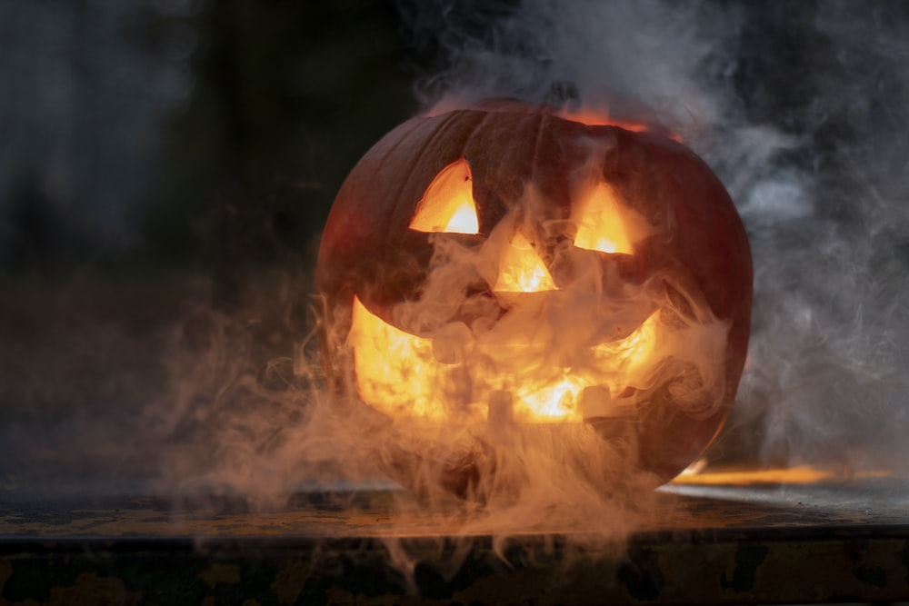 Jack-O'-Lantern with white smoke coming out