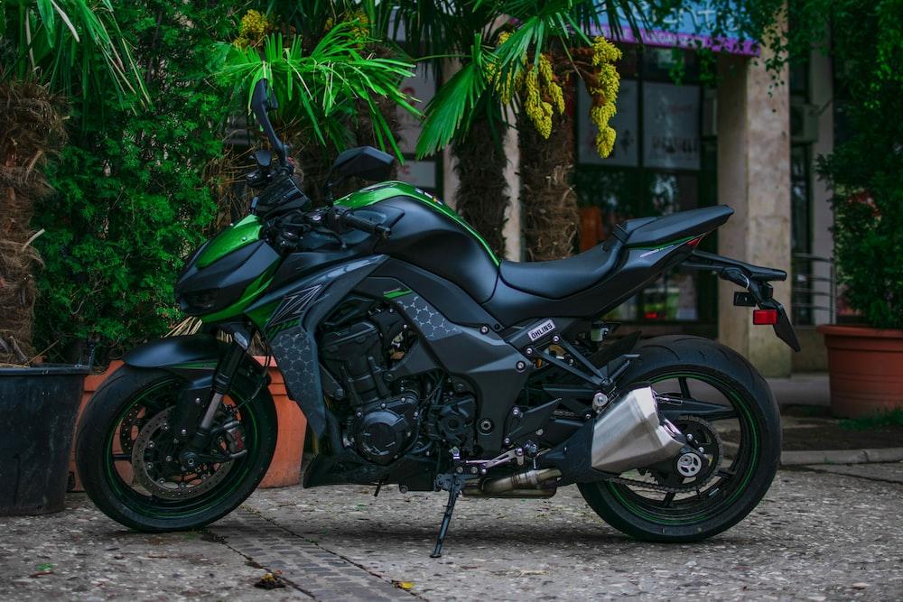 black and green sports bike