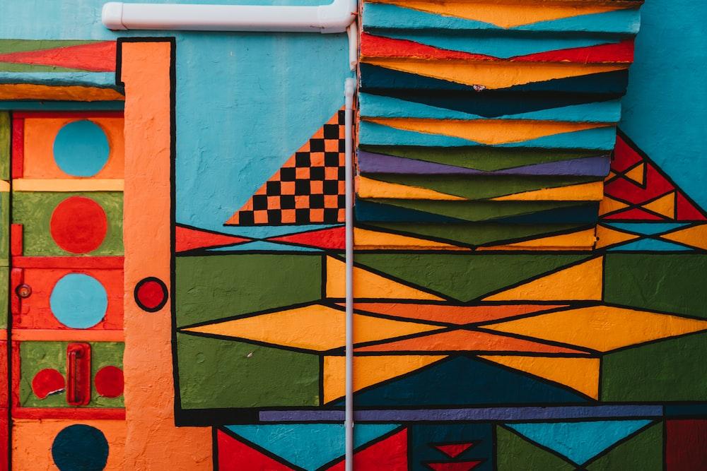multicolored architectural piece