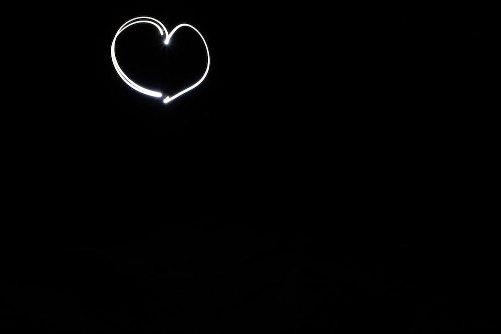 white and black heart illustration