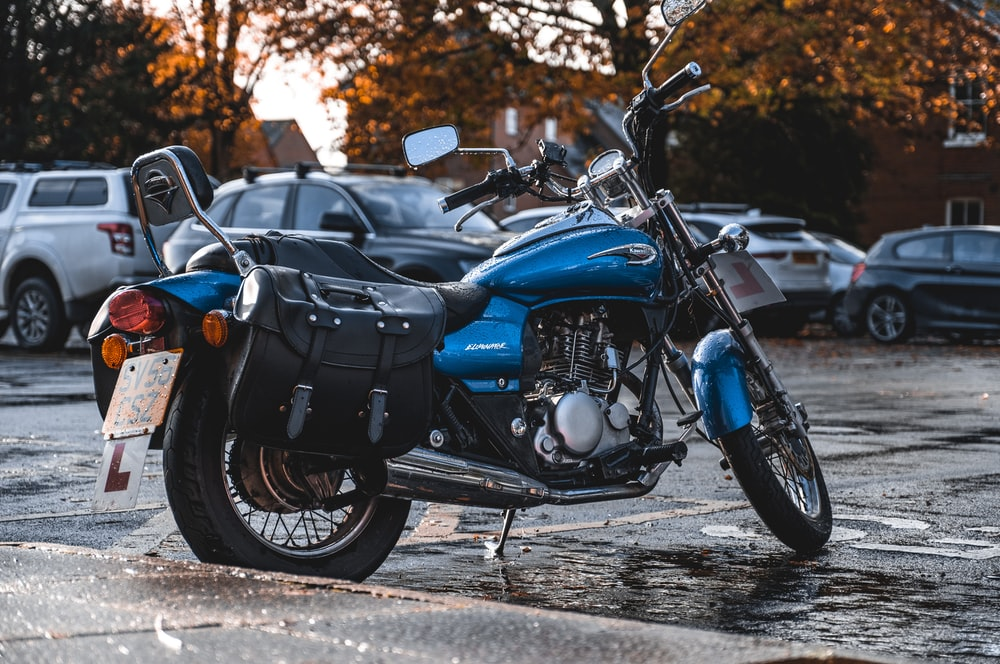 black and blue standard motorcycle