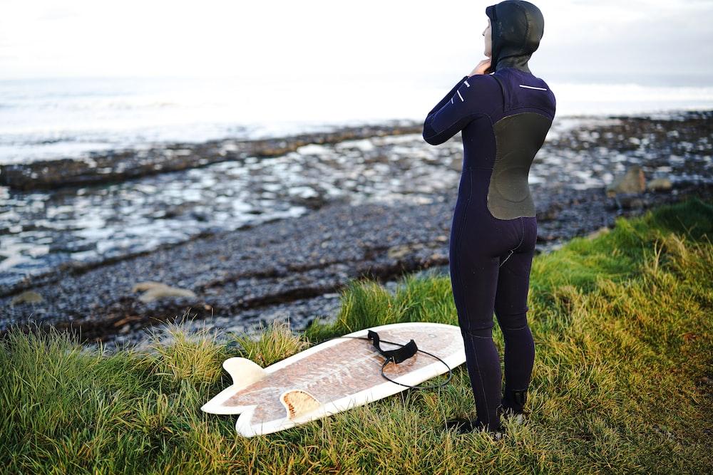 person wearing purple wetsuit
