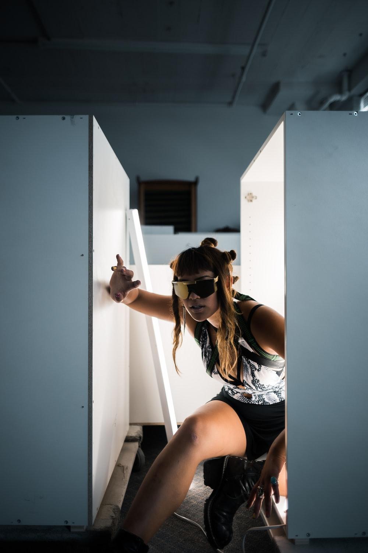 woman wearing shield sunglasses